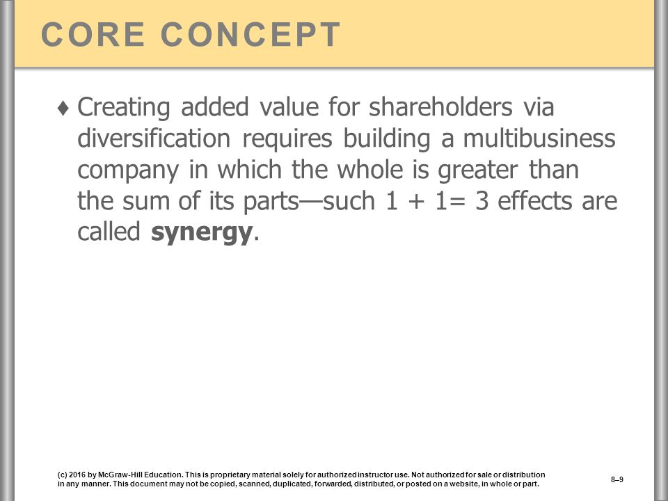 CORE CONCEPT ♦ Creating added value for shareholders via diversification requires building a multibusiness company in which the whole is greater than the sum of its parts—such 1 + 1= 3 effects are called synergy.