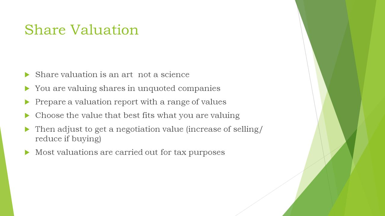 Share Valuation Mark Fielding-Pritchard  Share Valuation