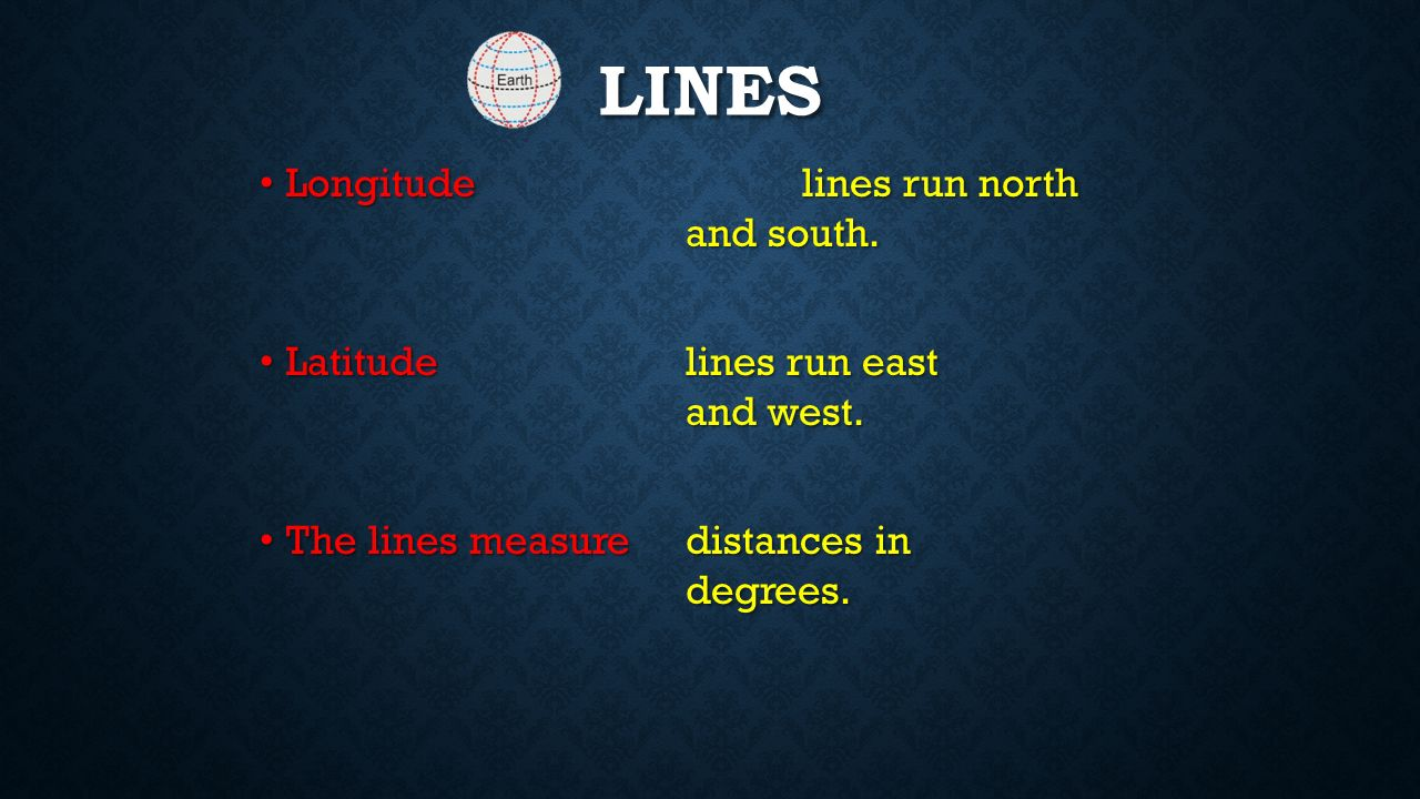 IMAGINARY LINES Latitude and Longitude The earth is divided into lots of lines called latitude and longitude