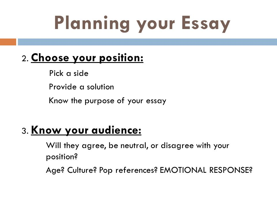 Planning your Essay 2.