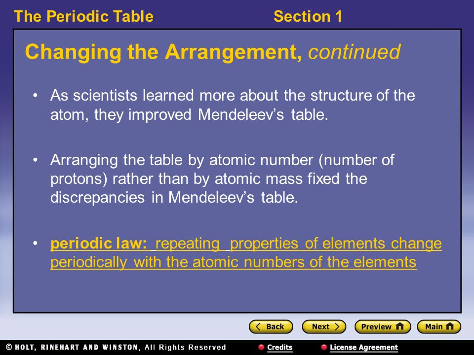 The Periodic Tablesection 1 Recognizing A Pattern How Did
