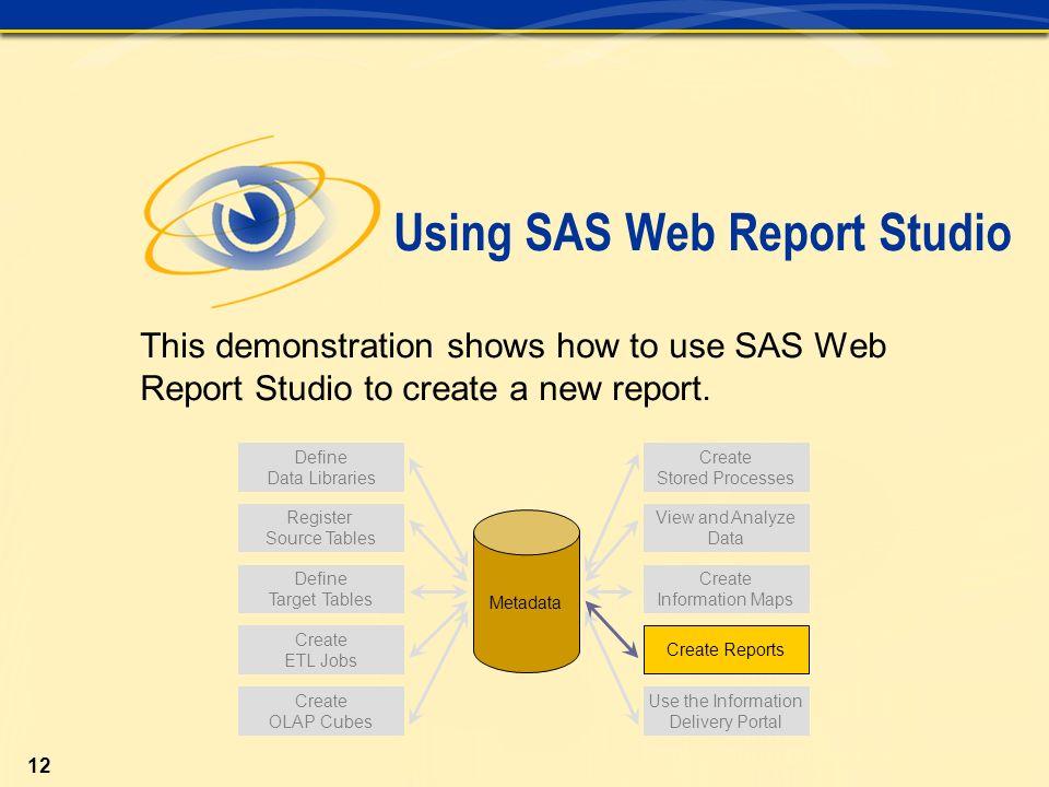 Chapter 11 Using SAS ® Web Report Studio  Section 11 1