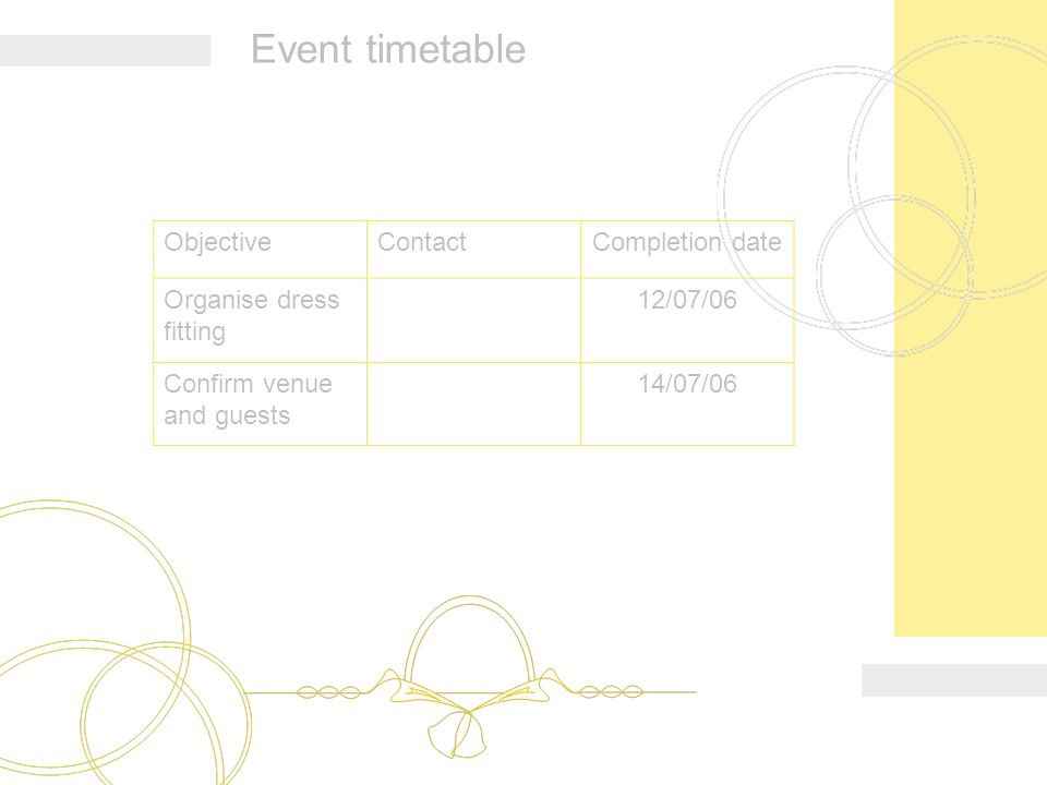 4 Event Timetable Objectivecontactcompletion Date Organise Dress Ing 12 07 06 Confirm Venue And Guests 14