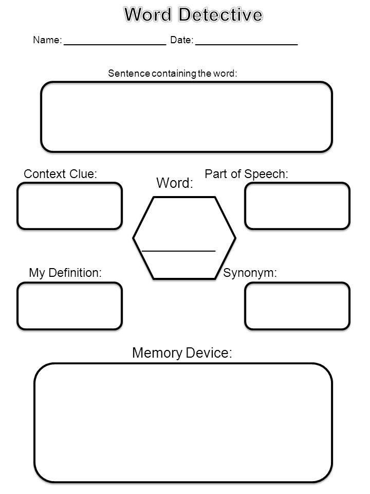Graphic organizers games and activities to aid in vocabulary context clue part of speech sentence containing the word memory device word my definition synonym ccuart Gallery