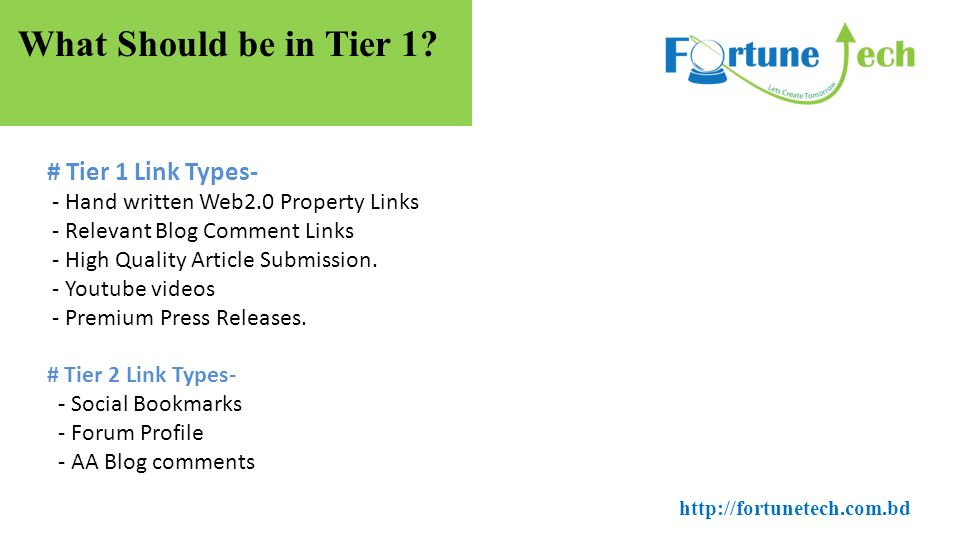 What You Will Learn? - Tiered Link Building - What should be in Tier