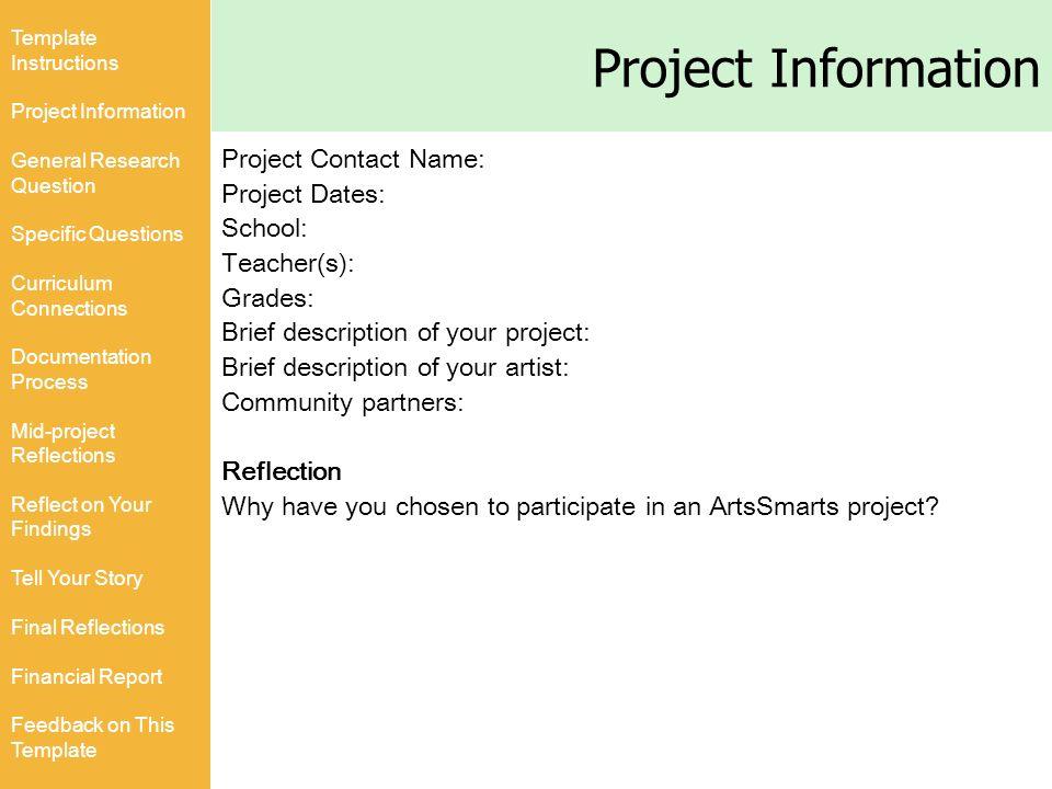 ArtsSmarts Saskatchewan Project Documentation Template Template - Project documentation template