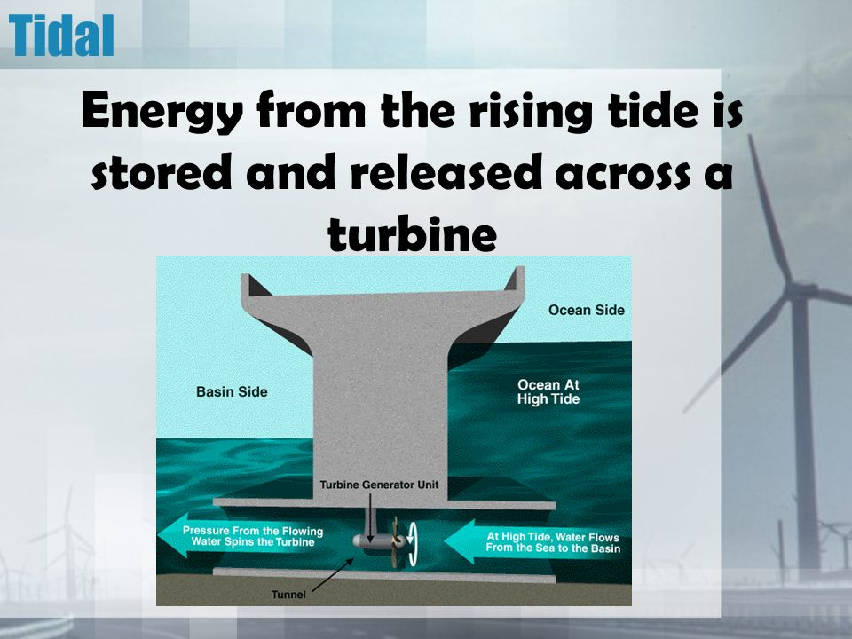 Tidal Energy from the rising tide is stored and released across a turbine