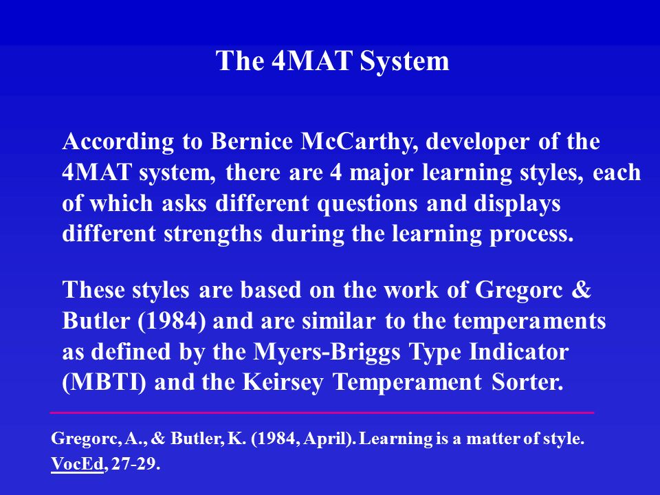 Using The 4mat System To Design Web Based Instruction William G