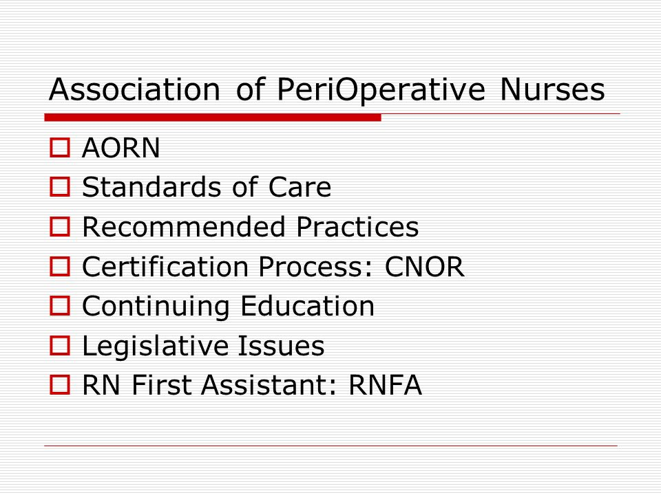 Perioperative Concepts And Management Association Of Perioperative