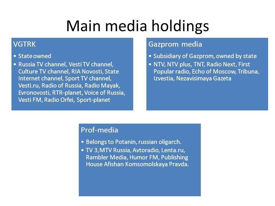 Media Moguls in Russia  Main TV channels in the 90's Two