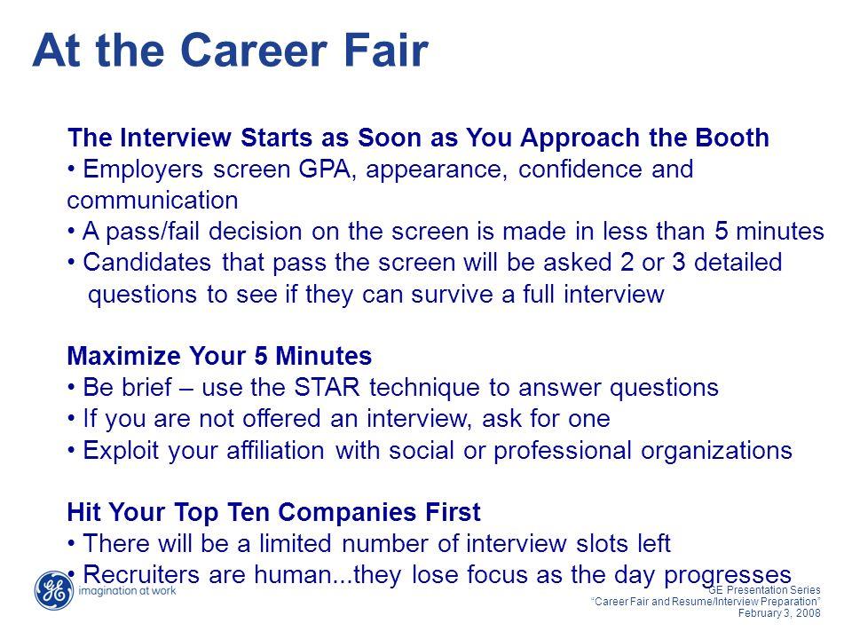 ge presentation series career fair and resume interview preparation