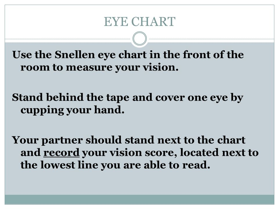Eye Chart Use The Snellen Eye Chart In The Front Of The Room To