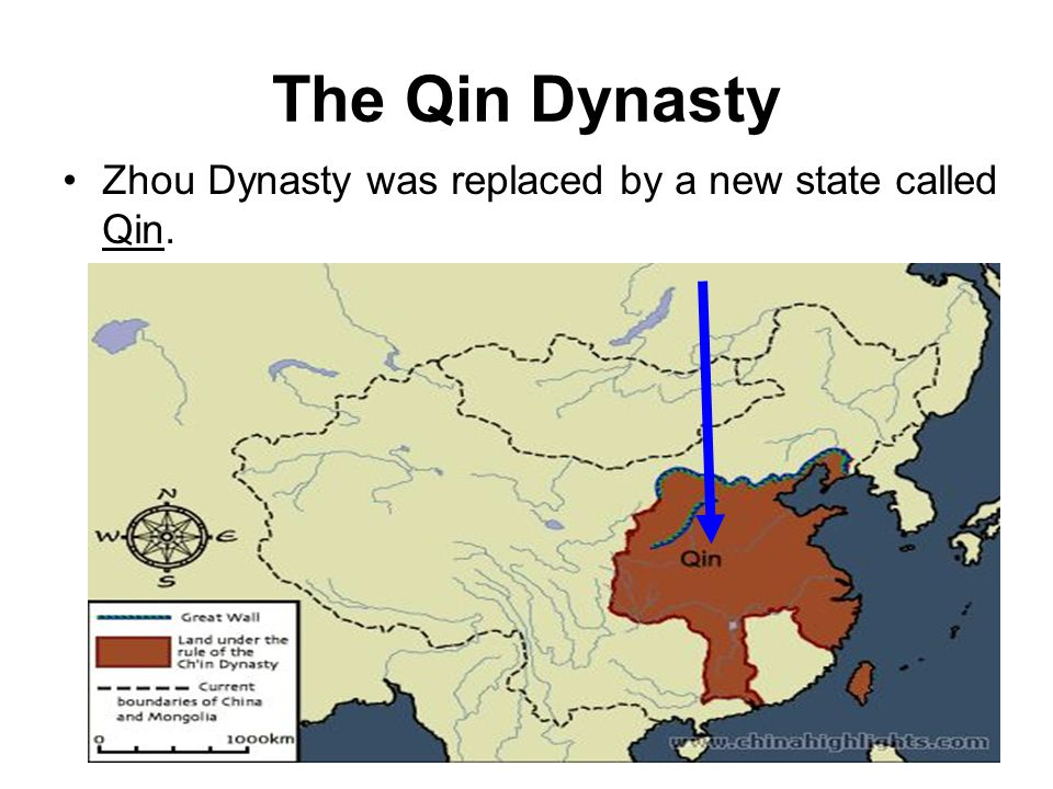 The Qin Dynasty Zhou Dynasty was replaced by a new state called Qin.