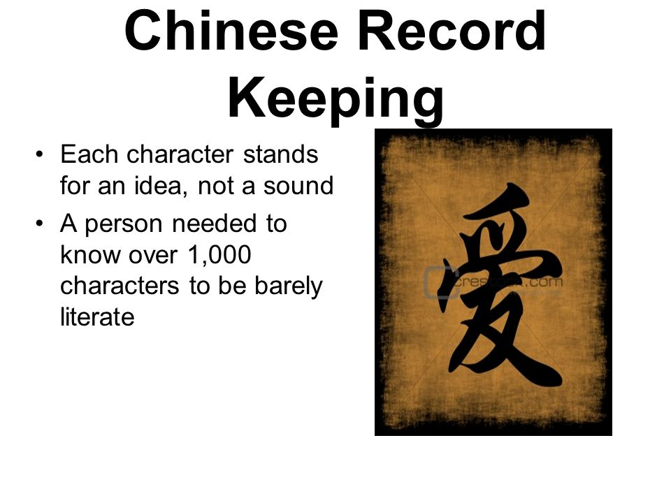 Chinese Record Keeping Each character stands for an idea, not a sound A person needed to know over 1,000 characters to be barely literate