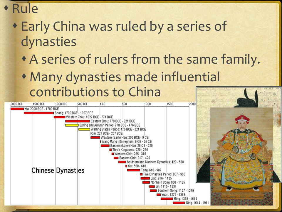  Rule  Early China was ruled by a series of dynasties  A series of rulers from the same family.