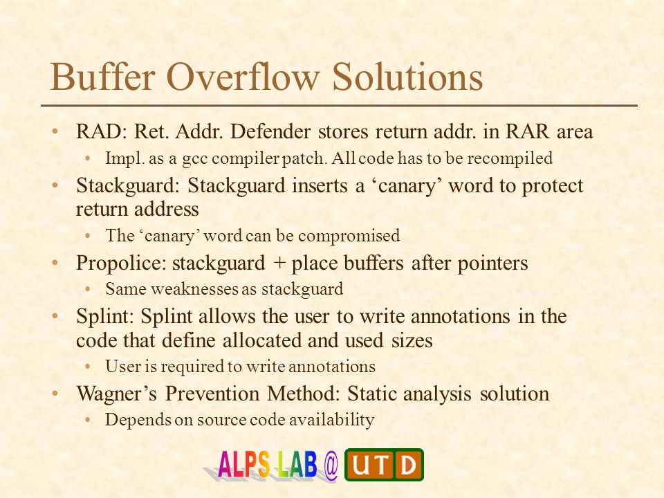 Buffer Overflow Attack Proofing of Code Binary Gopal Gupta