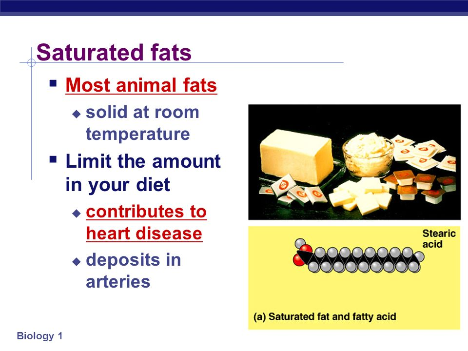 Biology 1 Saturated Fat vs. Unsaturated Fat
