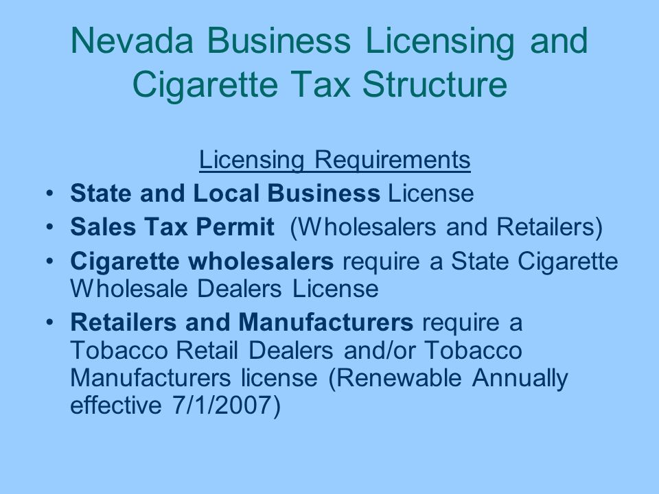 STATE OF NEVADA DEPARTMENT OF TAXATION  CIGARETTES & OTHER