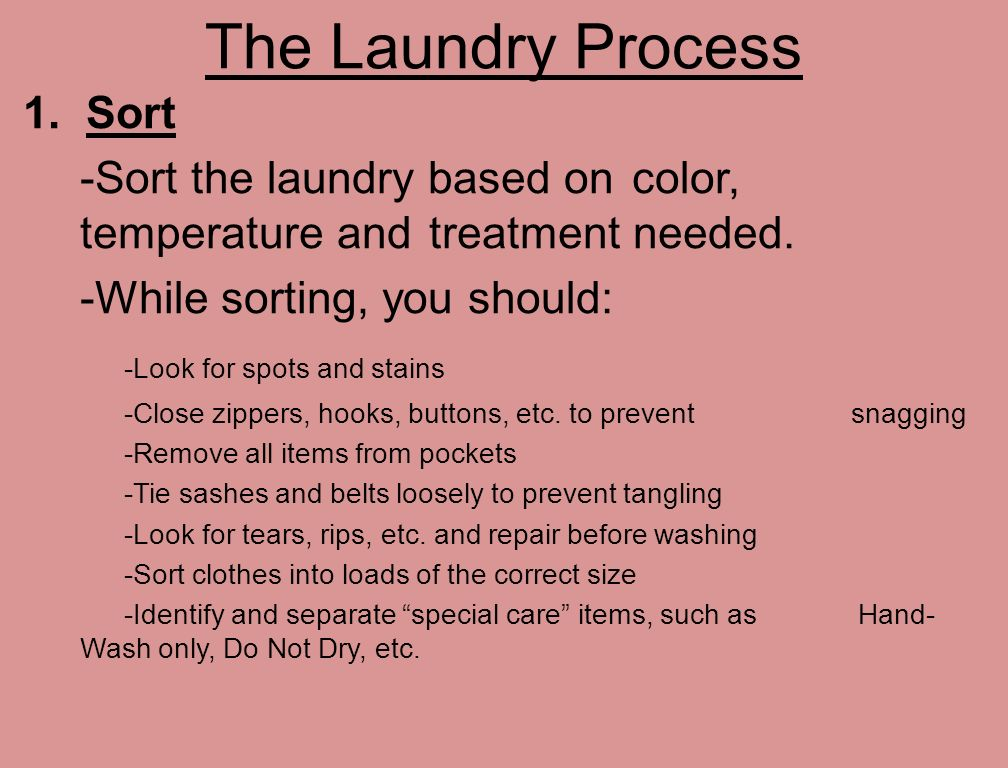 The Laundry Process 1 Sort Based On Color Temperature And