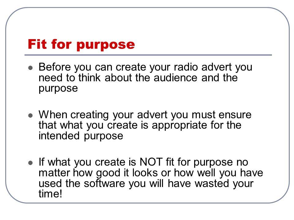 Create a radio advert