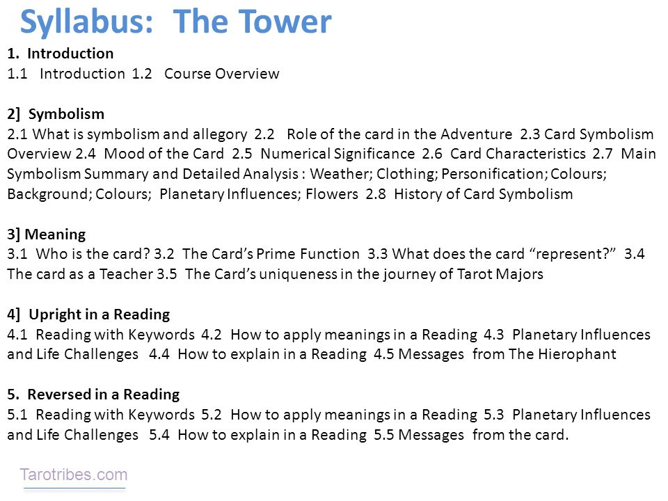 Course Description: The card meaning In Depth Reading