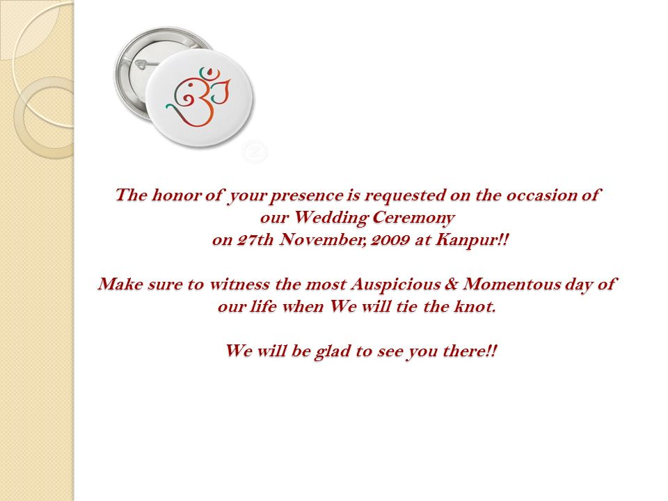 Wedding invitation nidhi weds kapil to 117 th smtp batch wedding the honor of your presence is requested on the occasion of our wedding ceremony on 27th stopboris Images
