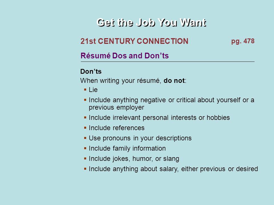 Get the Job You Want Your Résumé: Your First Contact Employers use ...