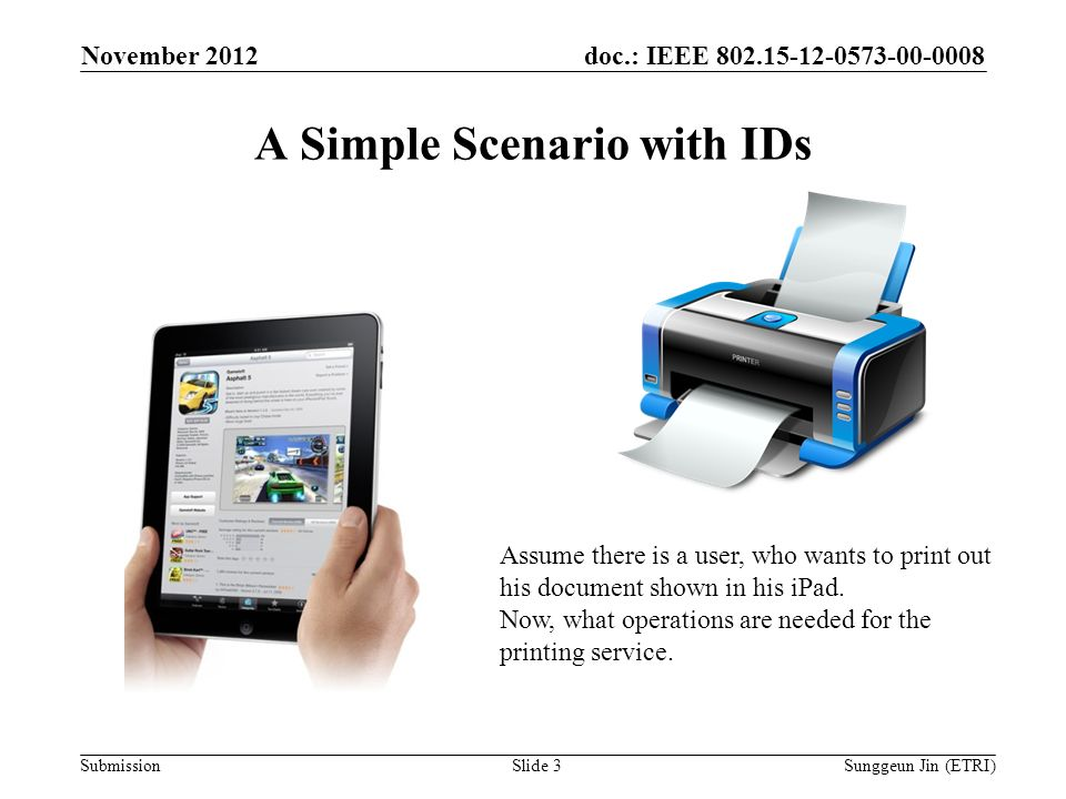 doc.: IEEE Submission A Simple Scenario with IDs November 2012 Sunggeun Jin (ETRI)Slide 3 Assume there is a user, who wants to print out his document shown in his iPad.