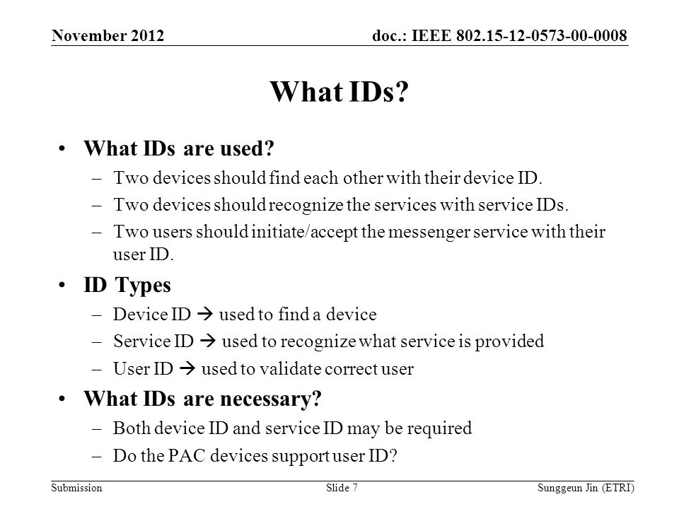 doc.: IEEE Submission What IDs.
