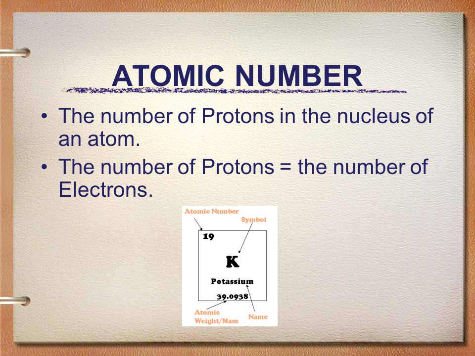 ATOMIC NUMBER The number of Protons in the nucleus of an atom.