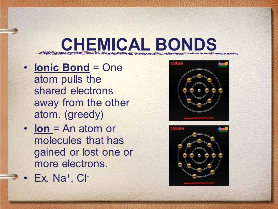 CHEMICAL BONDS Ionic Bond = One atom pulls the shared electrons away from the other atom.