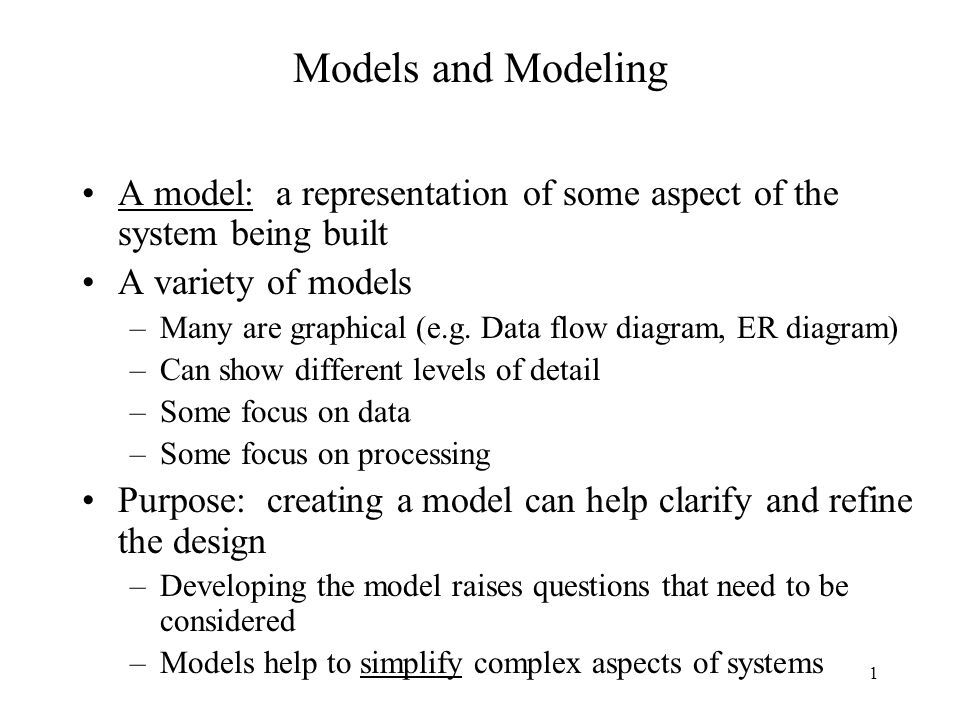 1 Models And Modeling A Model A Representation Of Some Aspect Of