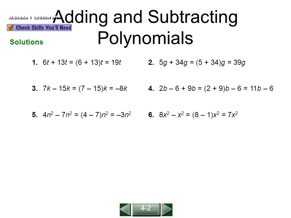 Adding and Subtracting Polynomials ALGEBRA 1 LESSON 9-1 (For ...