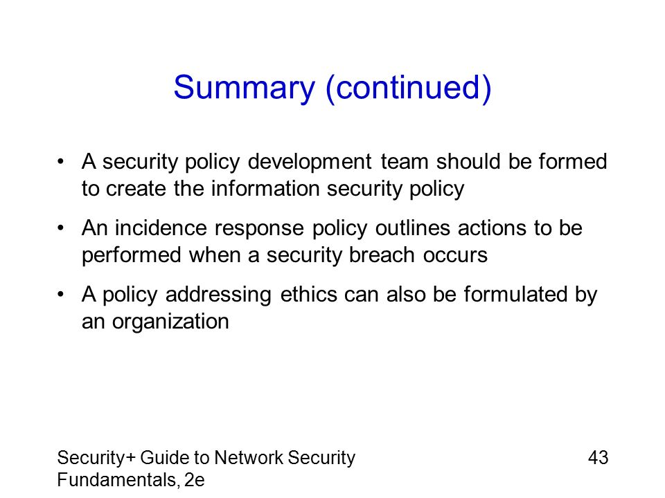 Chapter 11: Policies and Procedures Security+ Guide to Network