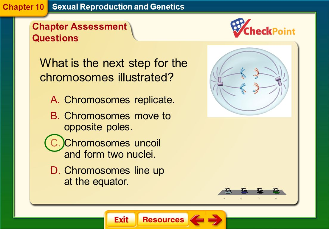 1.A 2.B 3.C 4.D CAQ 2 Sexual Reproduction and Genetics Chapter 10 Chapter Assessment Questions A.