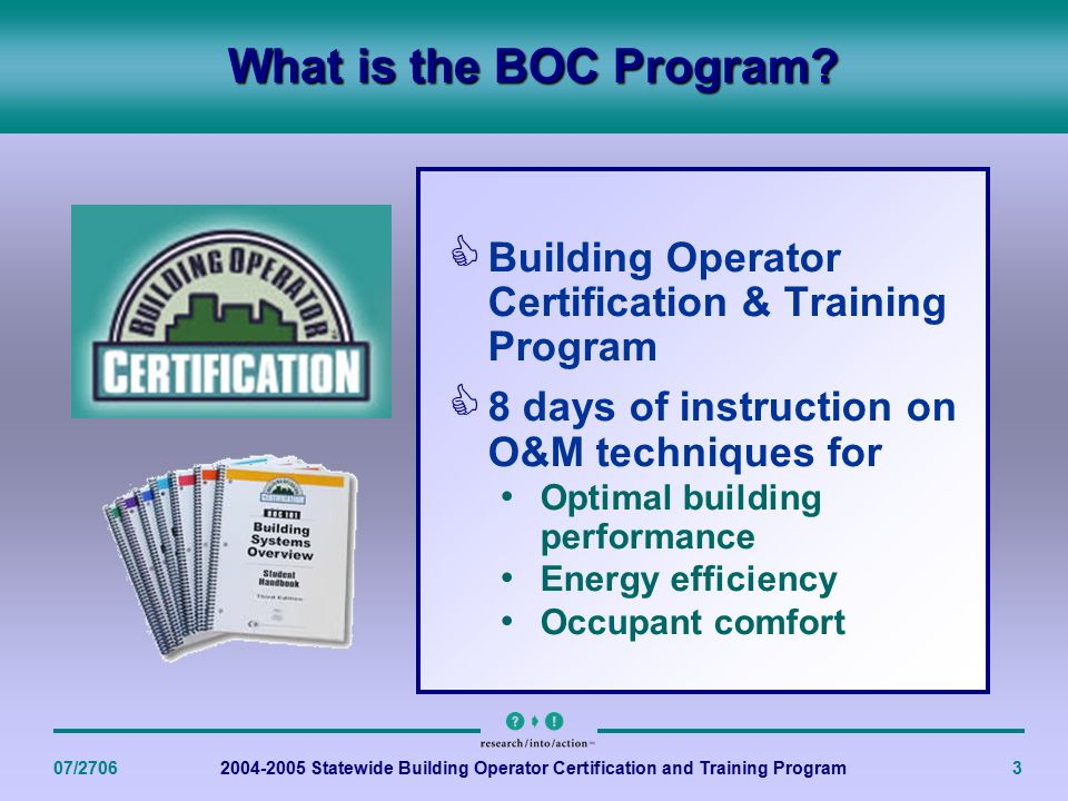 Statewide Building Operators Certification and Training Program ...