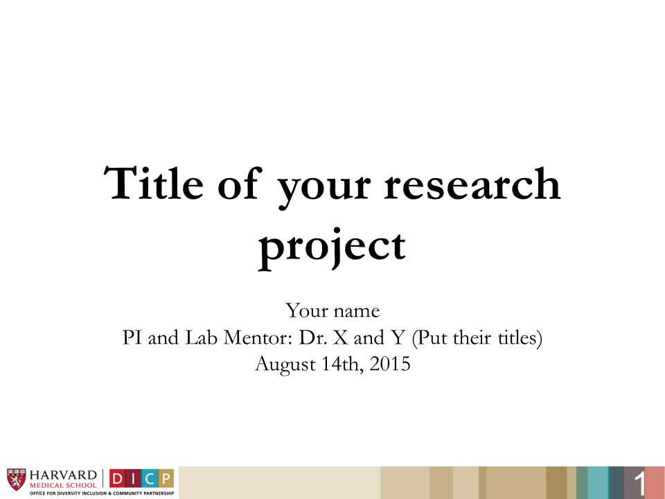 title for oral presentation