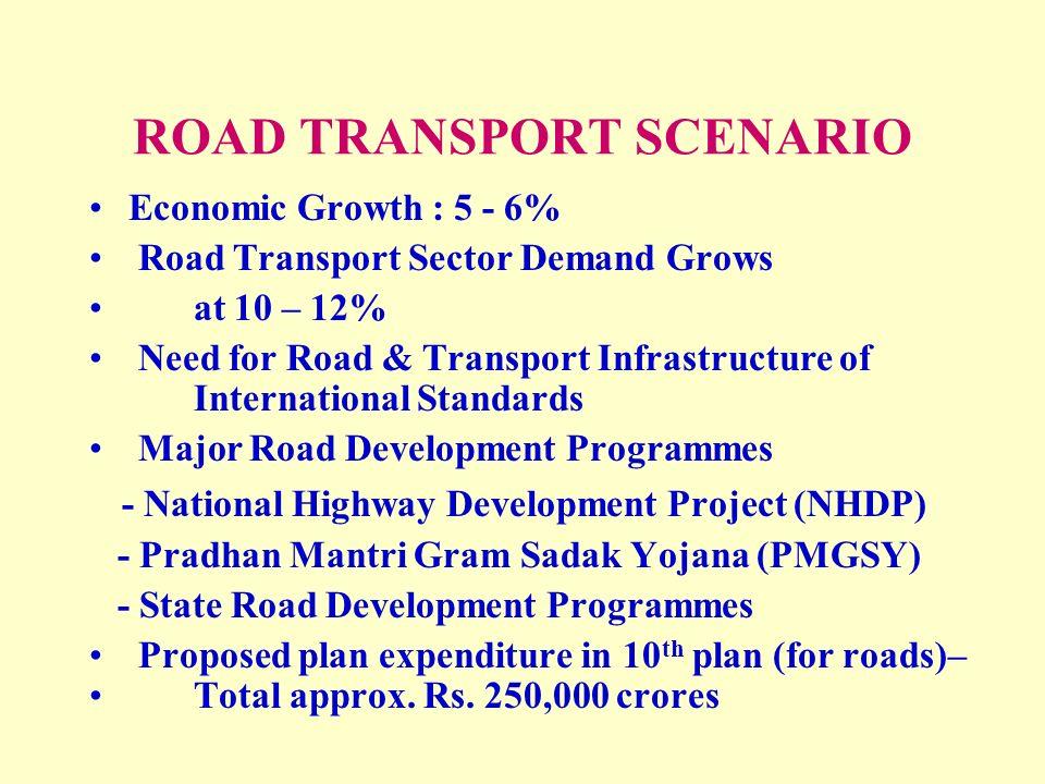 Indian Road Construction  ROAD TRANSPORT SCENARIO Economic