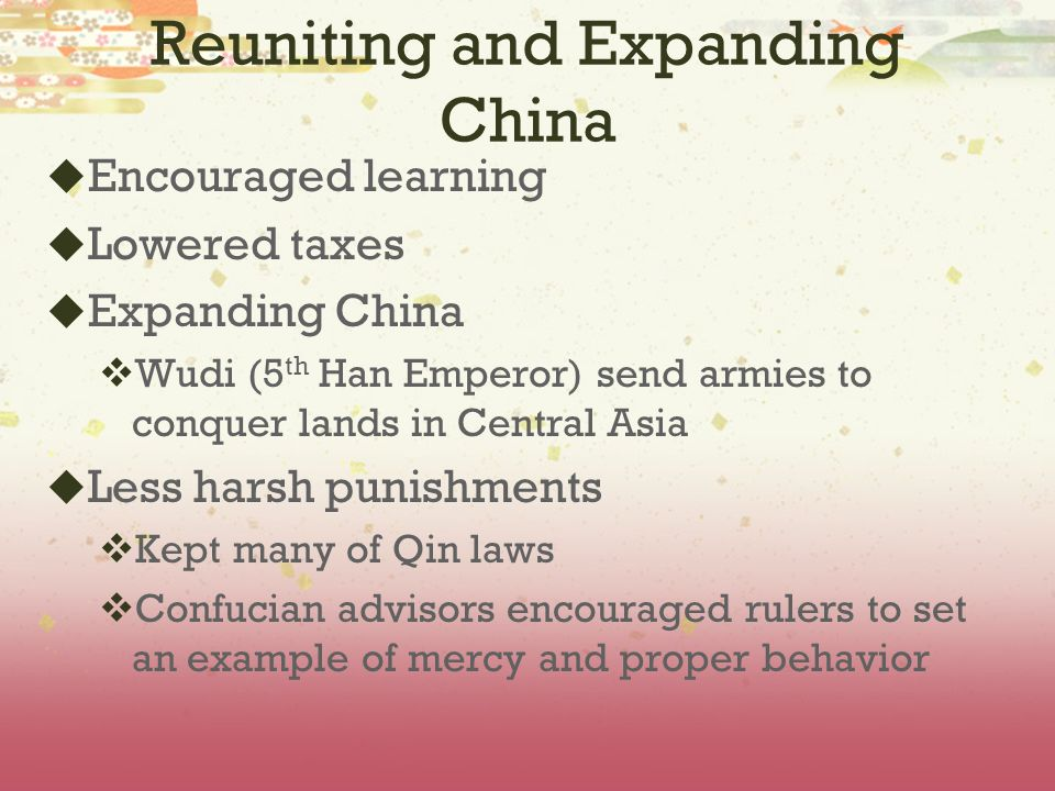 Historical Setting of the Han  Followed the Qin dynasty  Rebel general, Liu Bang, gained control of China following years of fighting after the fall of the Qin Dynasty  Came from a poor family
