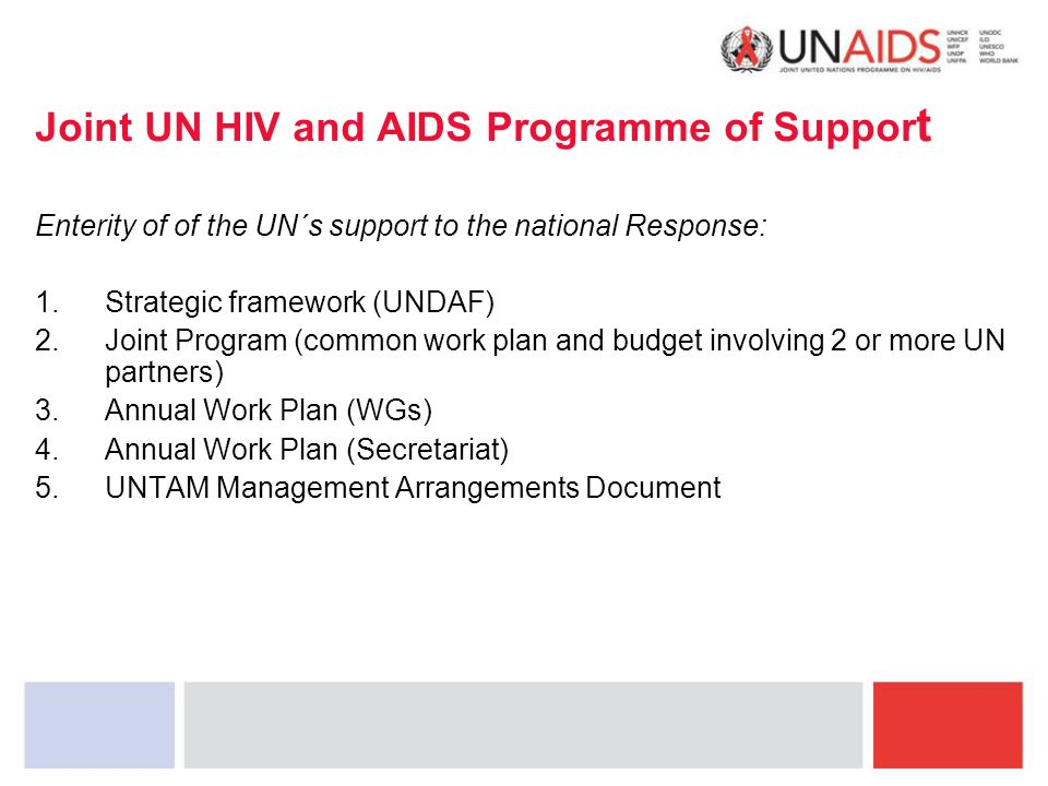 Joint UN HIV and AIDS Programme of Suppor t Enterity of of the UN´s support to the national Response: 1.Strategic framework (UNDAF) 2.Joint Program (common work plan and budget involving 2 or more UN partners) 3.Annual Work Plan (WGs) 4.Annual Work Plan (Secretariat) 5.UNTAM Management Arrangements Document