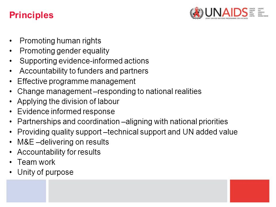 Principles Promoting human rights Promoting gender equality Supporting evidence-informed actions Accountability to funders and partners Effective programme management Change management –responding to national realities Applying the division of labour Evidence informed response Partnerships and coordination –aligning with national priorities Providing quality support –technical support and UN added value M&E –delivering on results Accountability for results Team work Unity of purpose