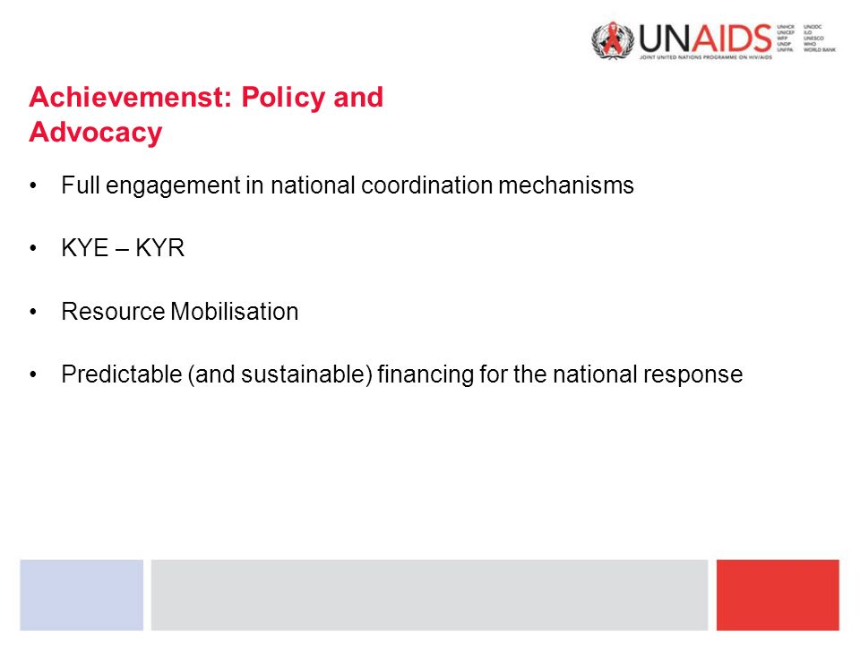 Achievemenst: Policy and Advocacy Full engagement in national coordination mechanisms KYE – KYR Resource Mobilisation Predictable (and sustainable) financing for the national response