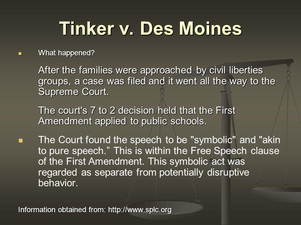 Freedom of Speech Tinker v  Des Moines 1969 Information