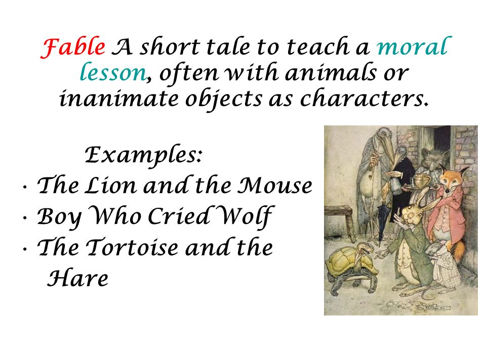 Examples of fables.