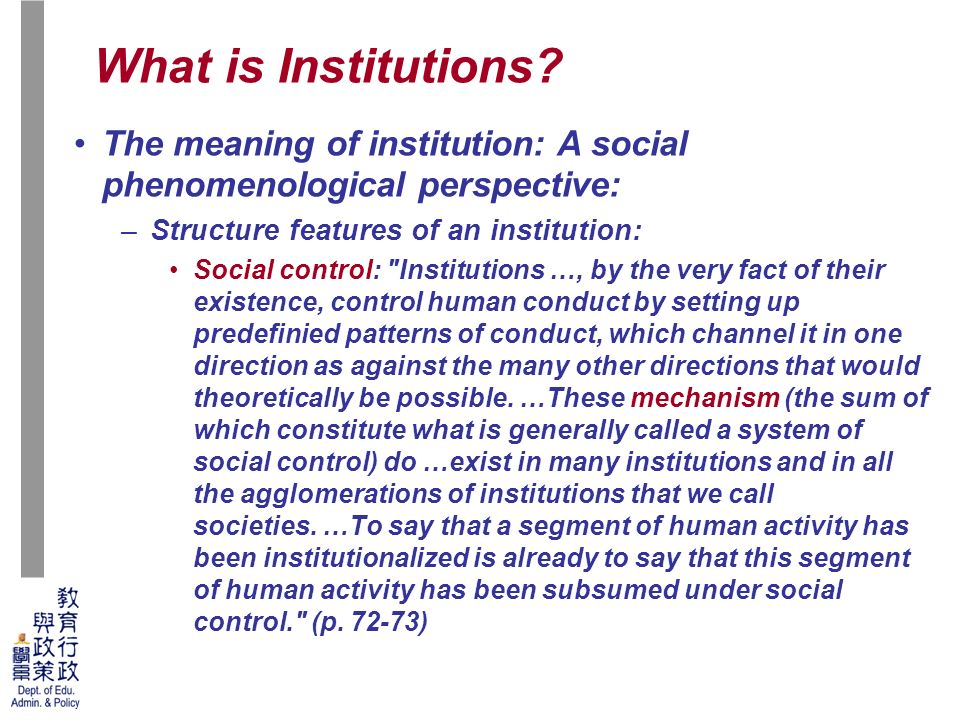 institution of social control