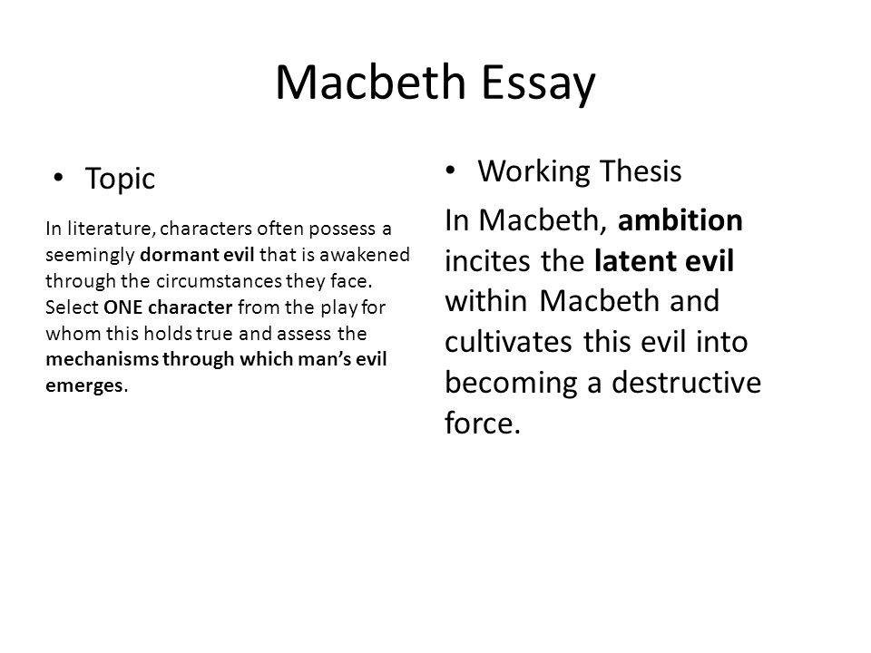macbeth planning out an essay using secondary sources  ppt download  macbeth essay topic working thesis