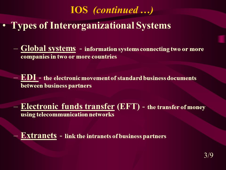 CHAPTER 8 INTERORGANIZATIONAL AND GLOBAL INFORMATION SYSTEMS