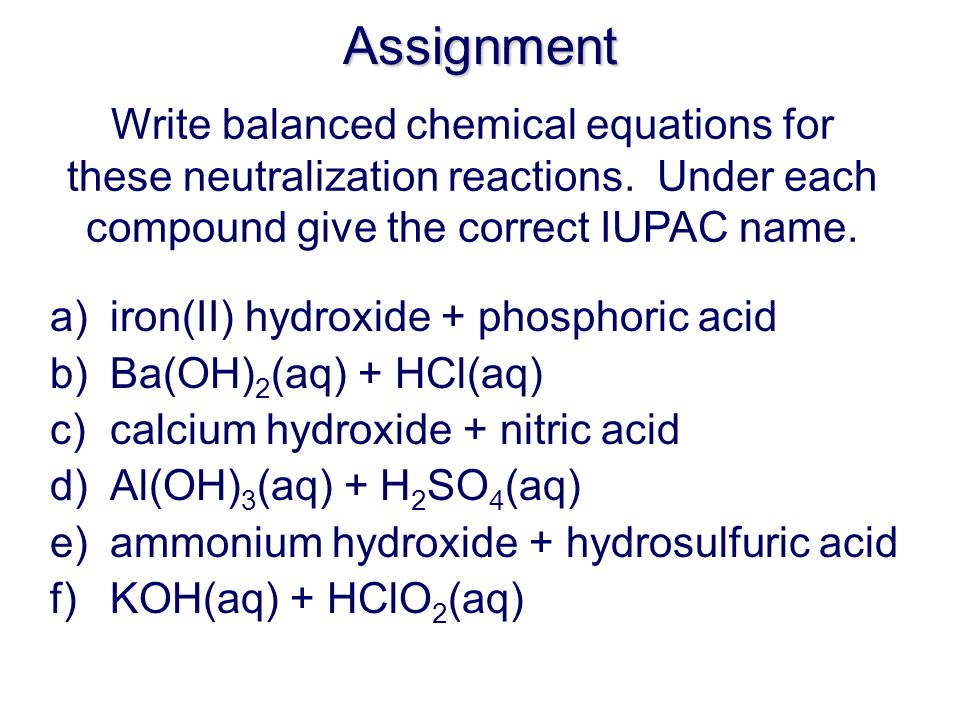 Question: Write the chemical reaction when lithium hydroxide is