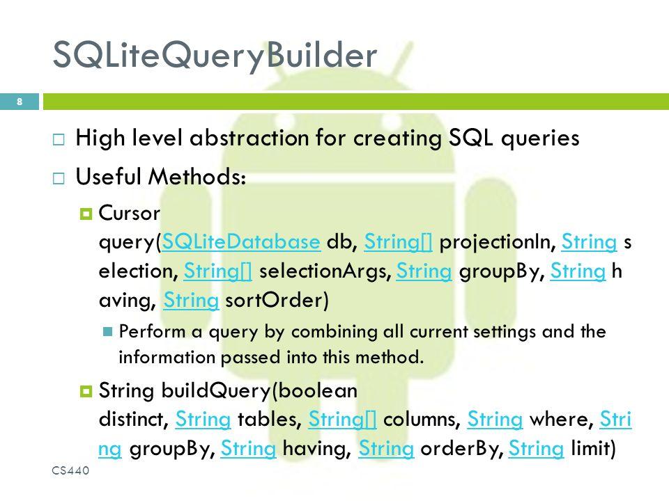SQLite (part deux) 1 CS440  Traditional Model View