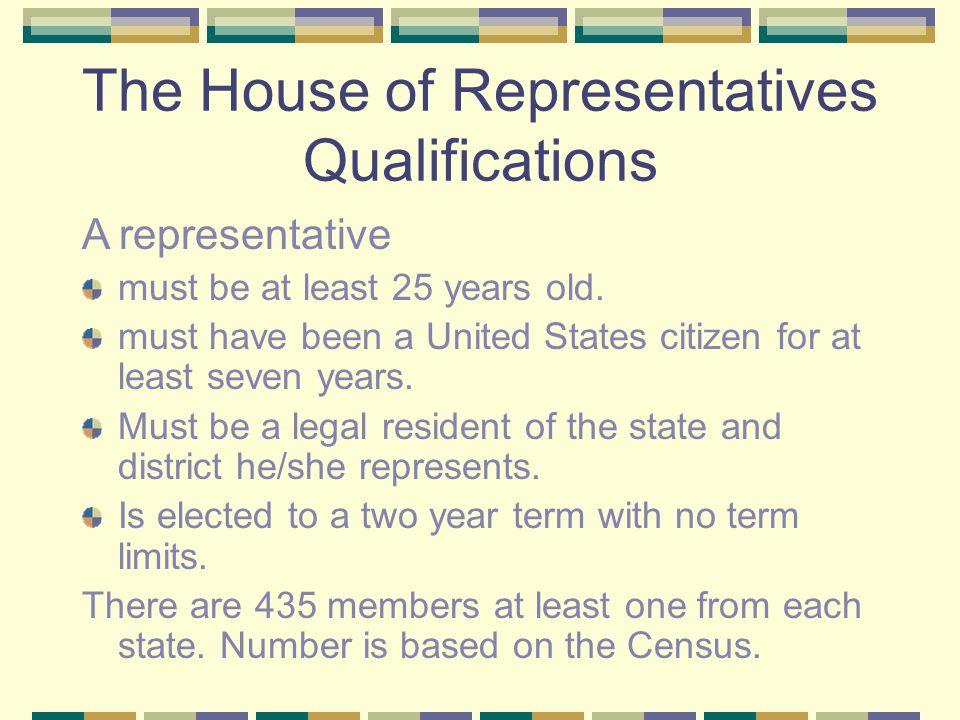 The Legislative Branch Congress The House of Representatives